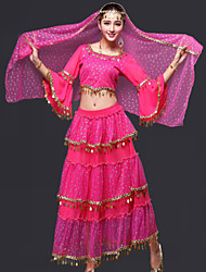 Belly Dance Outfits Women's Performance Chiffon Draped 3 Pieces Fuchsia / Red / Royal Blue / Yellow