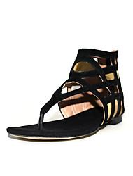 Women's Shoes Cowhide / Suede Flat Heel Flip Flops / Fashion Boots / Round Toe Sandals / Flats Outdoor /