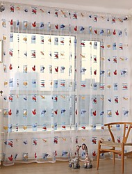 The Little Car Two Panels Living Room Polyester Sheer Curtains Shades