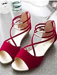 Women's Summer Comfort Fleece Casual Low Heel Black Blue Red