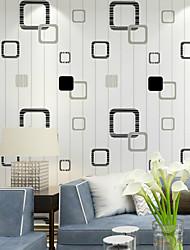 PALUTON Geometric Wallpaper Contemporary Wall Covering , Non-woven Paper Lattice Minimalist Style Vertical Stripes Warm