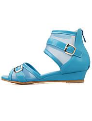DamenKleid / Lässig-Tüll / Kunstleder-Keilabsatz-Zehenfrei / Modische Stiefel-Blau / Rosa / Weiß