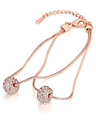 Fashion Women's Rhinestone Rose Gold Plated Tin Alloy Strand Bracelet(Rose Gold)(1Pc)