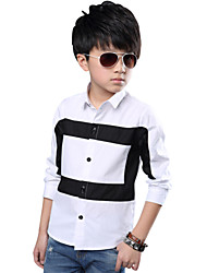 Boy's Cotton Spring/Fall Fashion Gentleman Neckline Black Block Pattern Shirt
