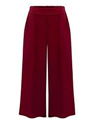 Women's Wide Leg Solid Blue/Red/Black Wide Leg Pants,Plus Size