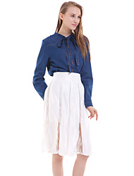 Women's Casual/Daily Simple Blouse,Solid Round Neck Long Sleeve Blue Cotton / Polyester Opaque