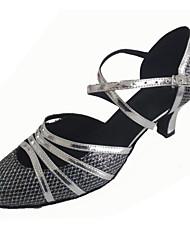 Chaussures de danse(Argent) -Personnalisables-Talon Personnalisé-Similicuir / Paillette Brillante-Latine / Moderne / Salsa