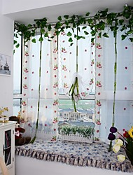 1PCS Roman Curtains Strawberry Embroidery Sheer Shade Balcony Windows Curtain