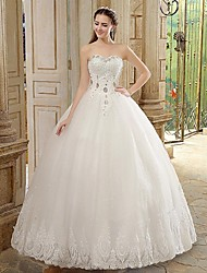 Princess Wedding Dress Floor-length Strapless Lace with Beading