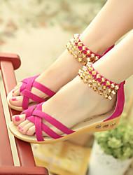 Women's Summer Comfort / Open Toe Fleece Dress / Casual Flat Heel Rivet / Zipper Black / Blue / Red / Beige