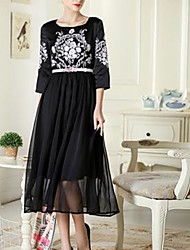 Women's Casual / Day / Simple Floral Dress , Round Neck Midi Silk