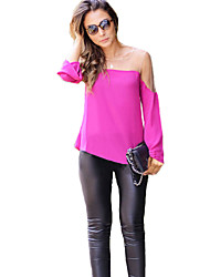 Women's Going out Sexy / Street chic T-shirt,Color Block Round Neck Long Sleeve Red / White / Black Rayon Sheer