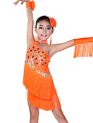 Latin Dance Outfits Children's Performance Spandex Tassel(s) 5 Pieces Bracelets / Headpieces / Sleeves / Dress / NeckwearDress length