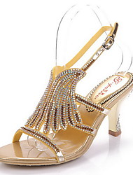 Women's Shoes Leather Stiletto Heel Heels Sandals Party & Evening / Dress / Casual Gold