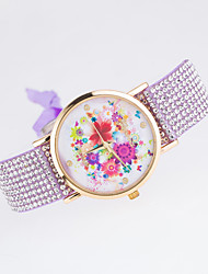 European Style New Fashion Trend Rhinestone Casual Colorful Flowers Bracelet Watch