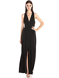 Women's Sexy Solid Sheath Dress , Deep V Mini Polyester