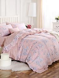 Simple Opulence 100% Cotton Wood Button Light Pink Floral Printed King Queen Duvet Cover Set