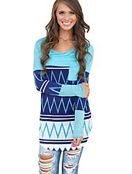 Women Long T-Shirt Contrast Stripe Pocket Round Neck Long Sleeve Casual Top Blouse