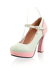 Women's Shoes Patent Leather Chunky Heel Heels Heels Wedding / Office & Career / Party & Evening /  Green / Pink