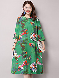 Women's Casual/Daily Boho Loose Dress,Print Round Neck Midi ¾ Sleeve Red / Green Cotton / Linen Summer