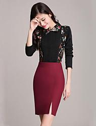 Damen Röcke  -  Übergröße / Arbeit Übers Knie Polyester Dehnbar