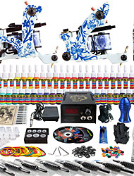 Solong Tattoo Complete Tattoo Kit 2 Pro Machine Guns 54 Inks Power Supply Foot Pedal Needles Grips Tips TK262