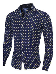 Hot Sale Men's Slim casual long-sleeved shirt collar shirt printing Cotton / Polyester Casual / Sport Print