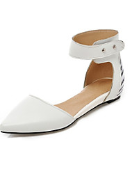 Women's Shoes Leatherette Flat Heel Pointed Toe Flats Wedding / Office & Career / Party & Evening / Dress Black