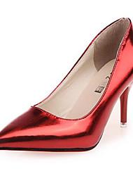 Zapatos de mujer-Tacón Stiletto-Puntiagudos-Tacones-Vestido-Semicuero-Rojo / Plata