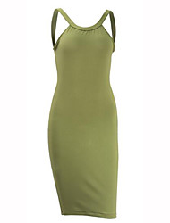 Women's Sexy Solid Bodycon Dress , Strap Knee-length Polyester