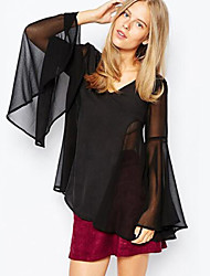 Women's Casual/Daily Simple Summer T-shirt,Solid Round Neck Long Sleeve Black Polyester Translucent