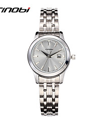 SINOBI® Fashion Watches Women's Quartz Watch Calendar Silver Round Surface Ladies Casual Female Steel Wristwatches Cool Watches Unique Watches