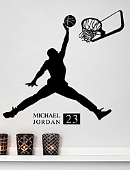 Boy playing basketball bedroom living room decorative wall stickers removable imitation water paste