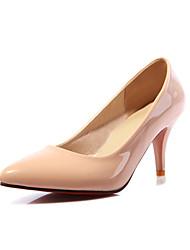Damen-High Heels-Büro Lässig Kleid-Kunstleder-StöckelabsatzWeiß Mandelfarben