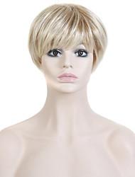nuevas hembras peluca rubia peluca corta el pelo natural sintético de 8 pulgadas