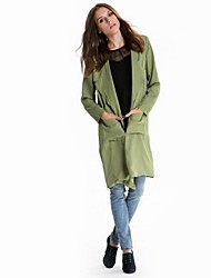 Women's Causal Solid Street Chic Long Sleeve Trench Coat
