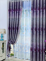 One Panel Modern Floral / Botanical Purple Living Room Poly / Cotton Blend Panel Curtains Drapes For Window Cartoon