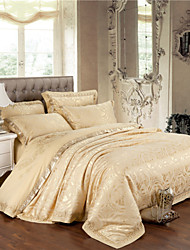 Floral Duvet Cover Sets 4 Piece Cotton Luxury Jacquard Cotton Queen King 4pcs (1 Duvet Cover, 1 Flat Sheet, 2 Shams)