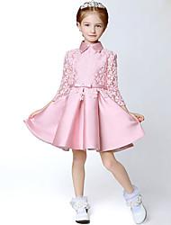 A-line Short/Mini Flower Girl Dress - Satin Long Sleeve