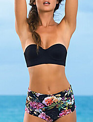 Women's Bandeau Bikinis , Floral / Solid Padded Bras / Underwire Bra Polyester Black