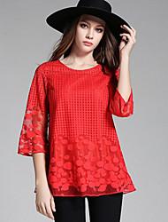 Damen Punkt Einfach Lässig/Alltäglich T-shirt,Rundhalsausschnitt Alle Saisons ½ Länge Ärmel Rot / Schwarz Polyester Dünn