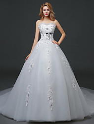 A-line Wedding Dress - White Chapel Train Strapless Lace / Satin