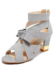 Women's Shoes Fleece Chunky Heel Heels Sandals Wedding / Office & Career / Party & Evening / Casual Black / Pink / Gray
