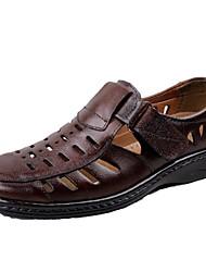 Men's Shoes Leather Outdoor / Casual Sandals Outdoor / Casual Flat Heel Brown
