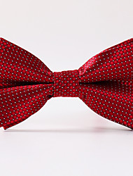 White Red Plaid Formal BowTie