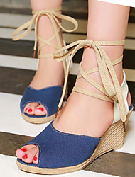 Women's Shoes Denim / Leatherette Wedge Heel Wedges / Peep Toe Sandals Dress / Casual Blue / Yellow / Red