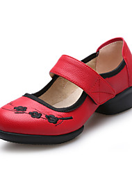 Modern Women's Dance Shoes Sneakers Breathable Leather Low Heel Black/Red/White