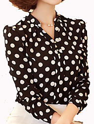 Women's New Style Dot,Wave Point PrintingChiffon Long Sleeve Blouses OL Bottoming Shirt