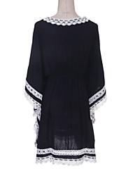Robe Aux femmes Courte Street Chic , Mosaïque Col en V Mi-long Nylon