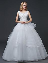 A-Linie Hochzeitskleid Boden-Länge V-Ausschnitt Spitze / Tüll mit Spitze